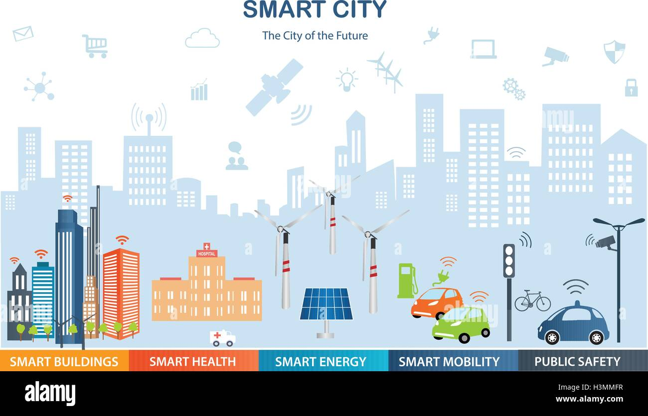Smart city concept with different icon and elements ...