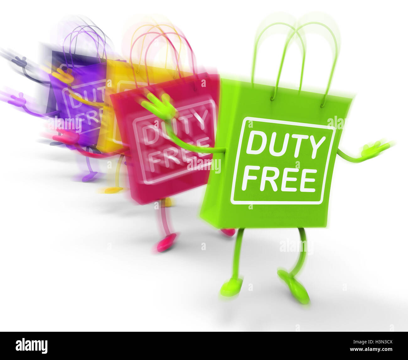 Duty Free Shopping Bags Show Tax Exempt Discounts Stock Photo ...