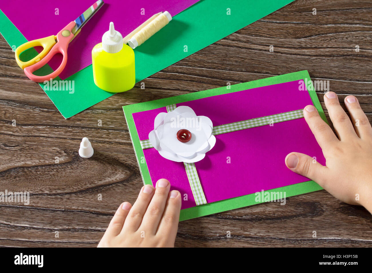 Greeting card handmade birthday child glue paper details greeting card handmade birthday child glue paper details childrens art project a craft for children kristyandbryce Gallery