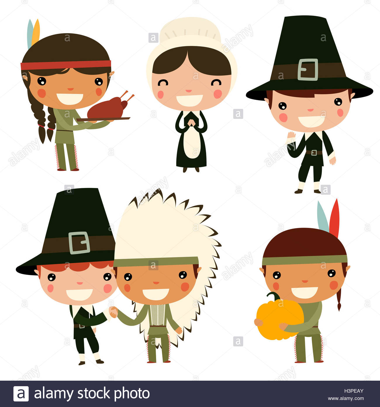 thanksgiving kids. Cute native americans and colonists Stock Photo ...