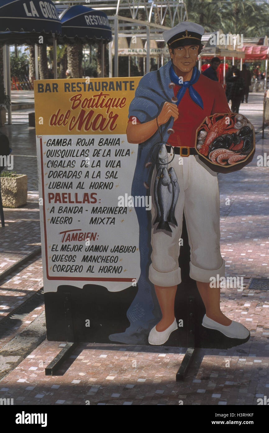 Spain Alicante Advertising Notice Board Menu Restaurant Europe Economy