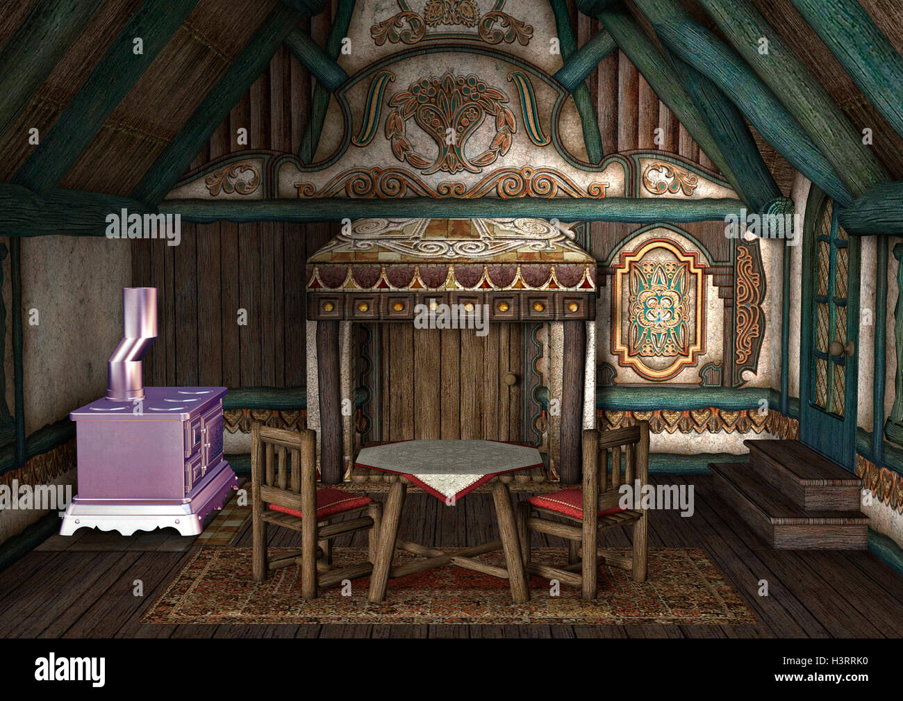 3D Rendering Of A Fairytale Cottage Interior