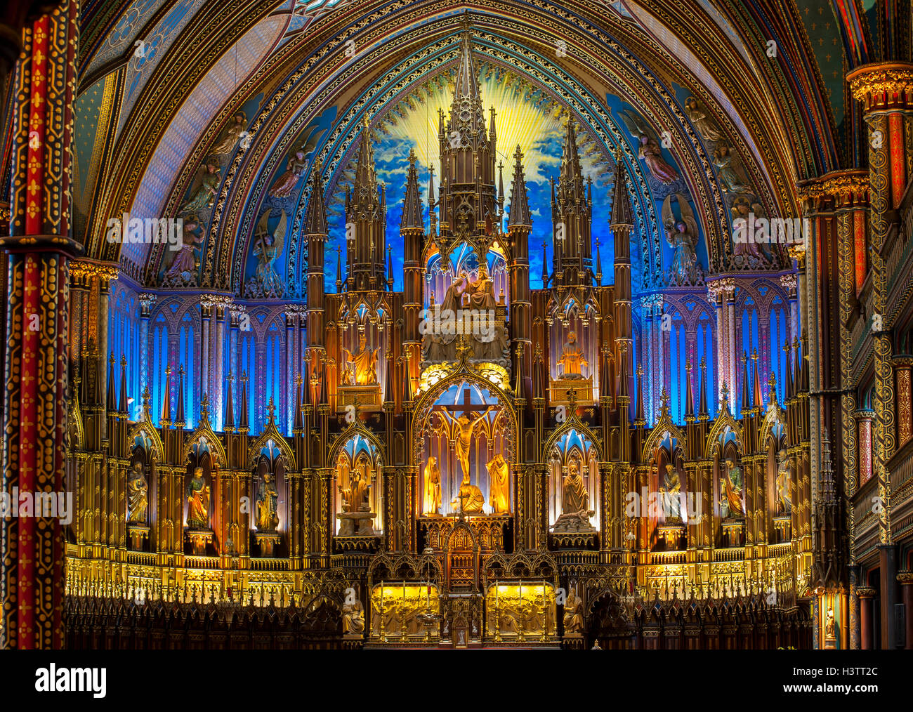 Interior Of Notre Dame Basilica Gothic Revival Architecture Built Between 1824 And 1829 Montreal Quebec Canada