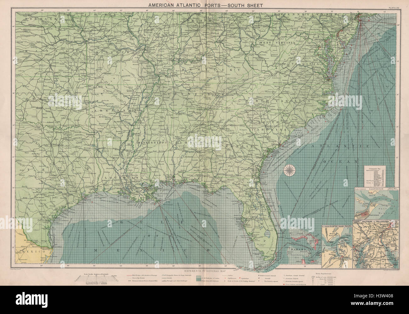 US Atlantic  Gulf Coast Ports Sea Chart Lighthouses Mail Routes - Free us map mail