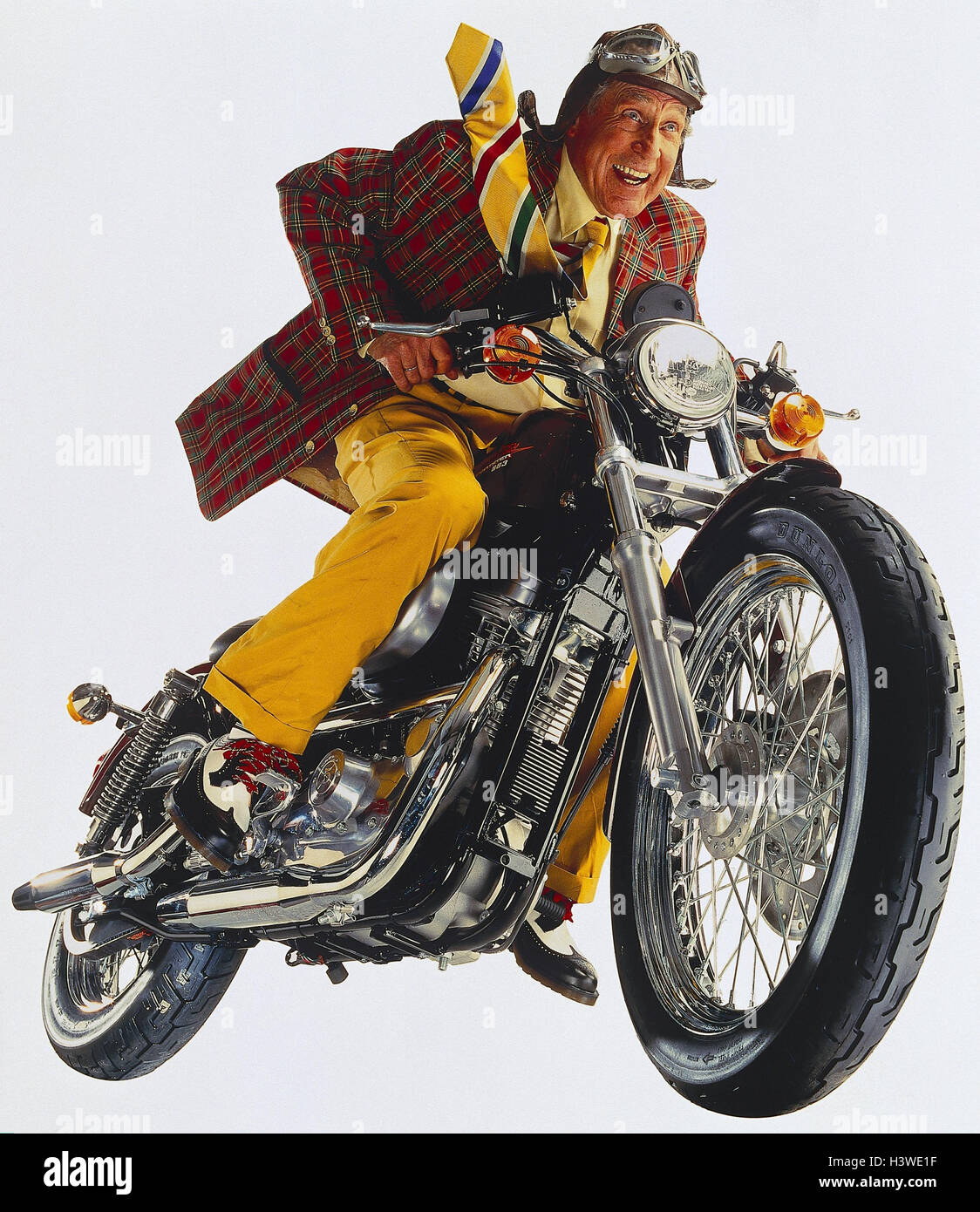 Senior, Man, Leather Ball Cap, Motorcycle, Laugh, Do Not Drive Freely For  Furniture Industry I. D Studio, Joy