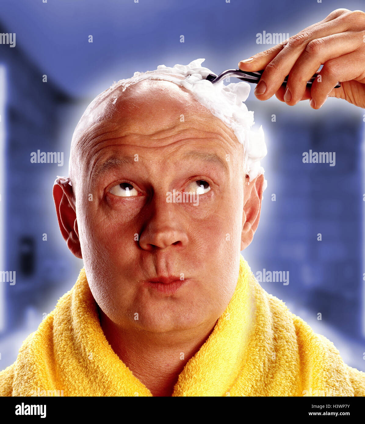 Head shave stock photos head shave stock images alamy man towel head shave bald head facial play portrait buycottarizona Image collections