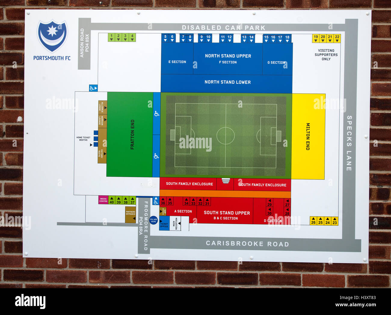 Sign Showing The Layout Of Fratton Park Home Portsmouth Football Club