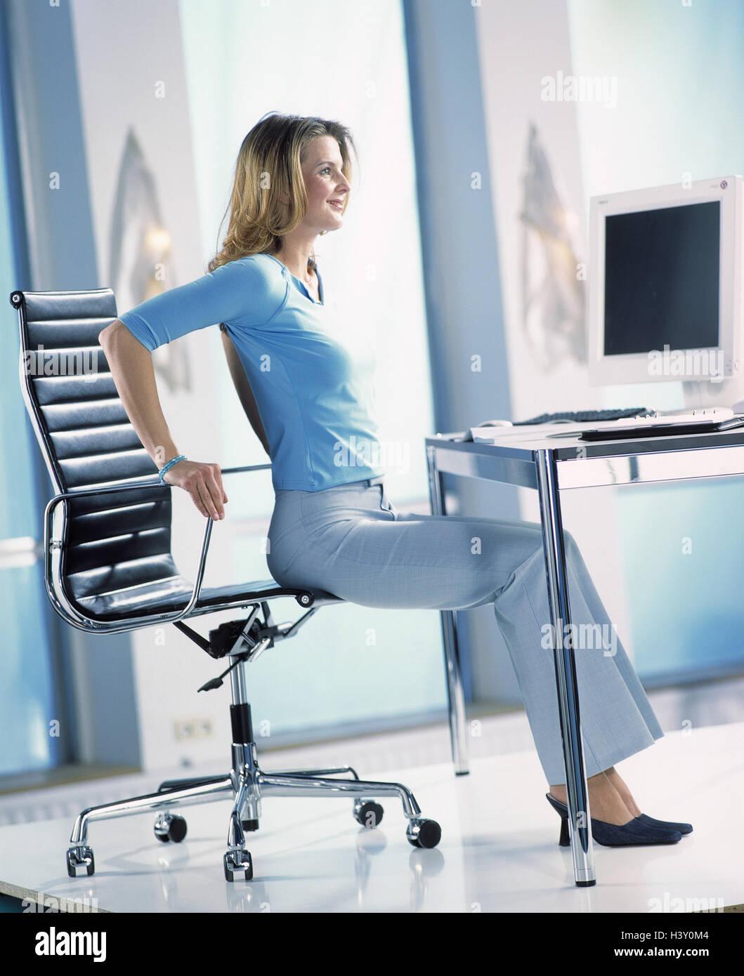 office relaxation. Workplace, Clerks, Gymnastics, Woman, Office Workers, Relaxation Exercises, Relaxation, Musculature, Position, Dehnübungen, Ergonomics, Change, G