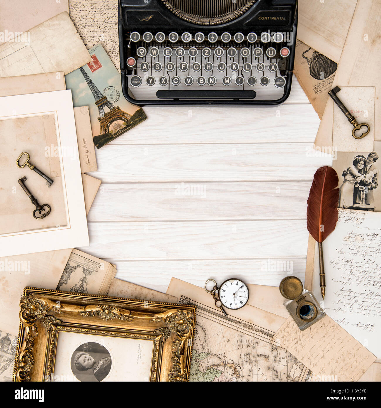 Wonderful Antique Typewriter And Vintage Office Accessories On Wooden Table. Flat Lay  Still Life