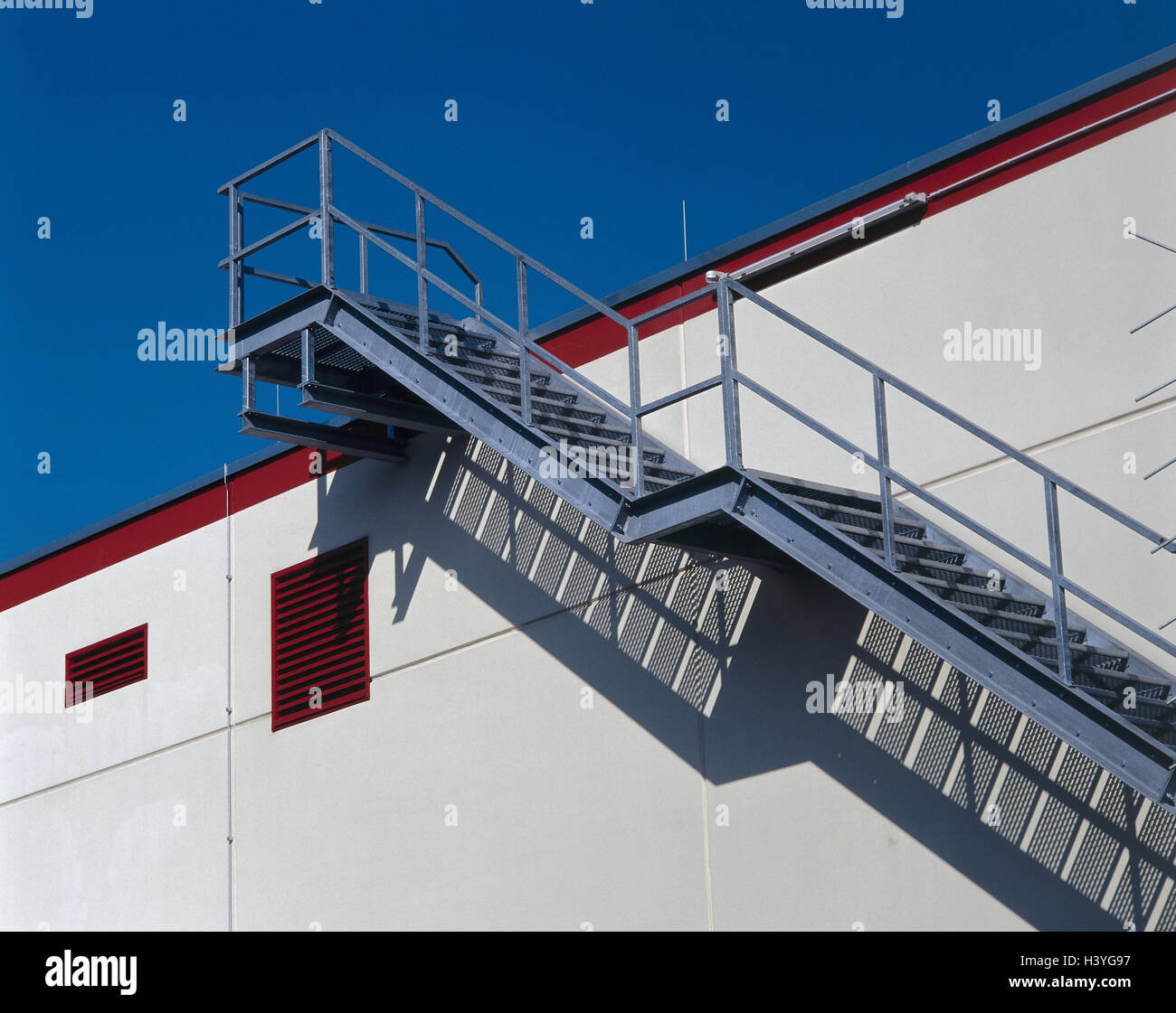 Building, Outside Stairs, Metal, Detail, Outer Wall Stairs, Stairs, Metal