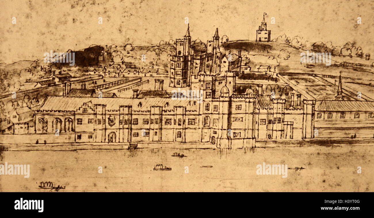 illustration of the palace of placentia an english royal palace  illustration of the palace of placentia an english royal palace which was demolished by king charles ii in the 17th century