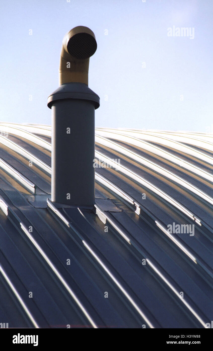 Building, Detail, Roof, Exhaust Air Pipe, Architecture, Tin Roof, Round