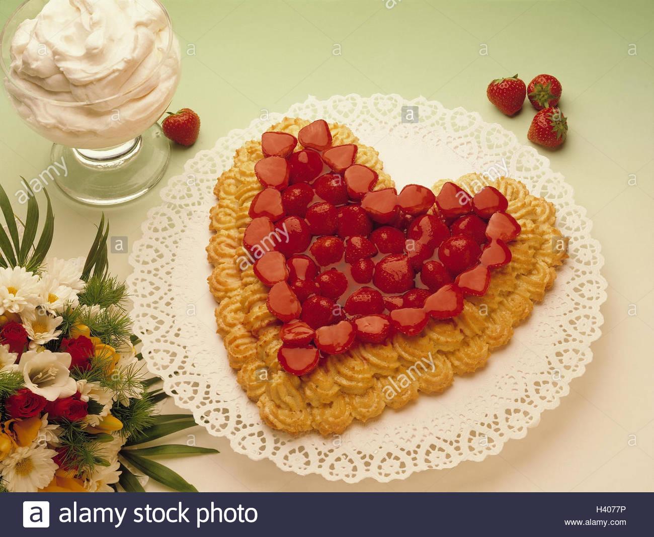 Strawberry cake heartshaped whipped cream bouquet cake cake