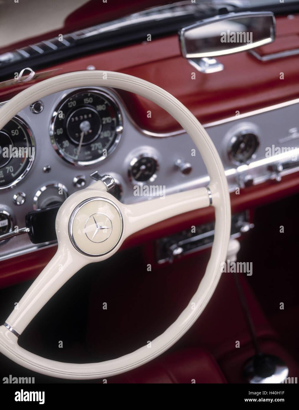 Car, old-timer, Mercedes 300 SL, detail, dash board, tax, vehicle ...