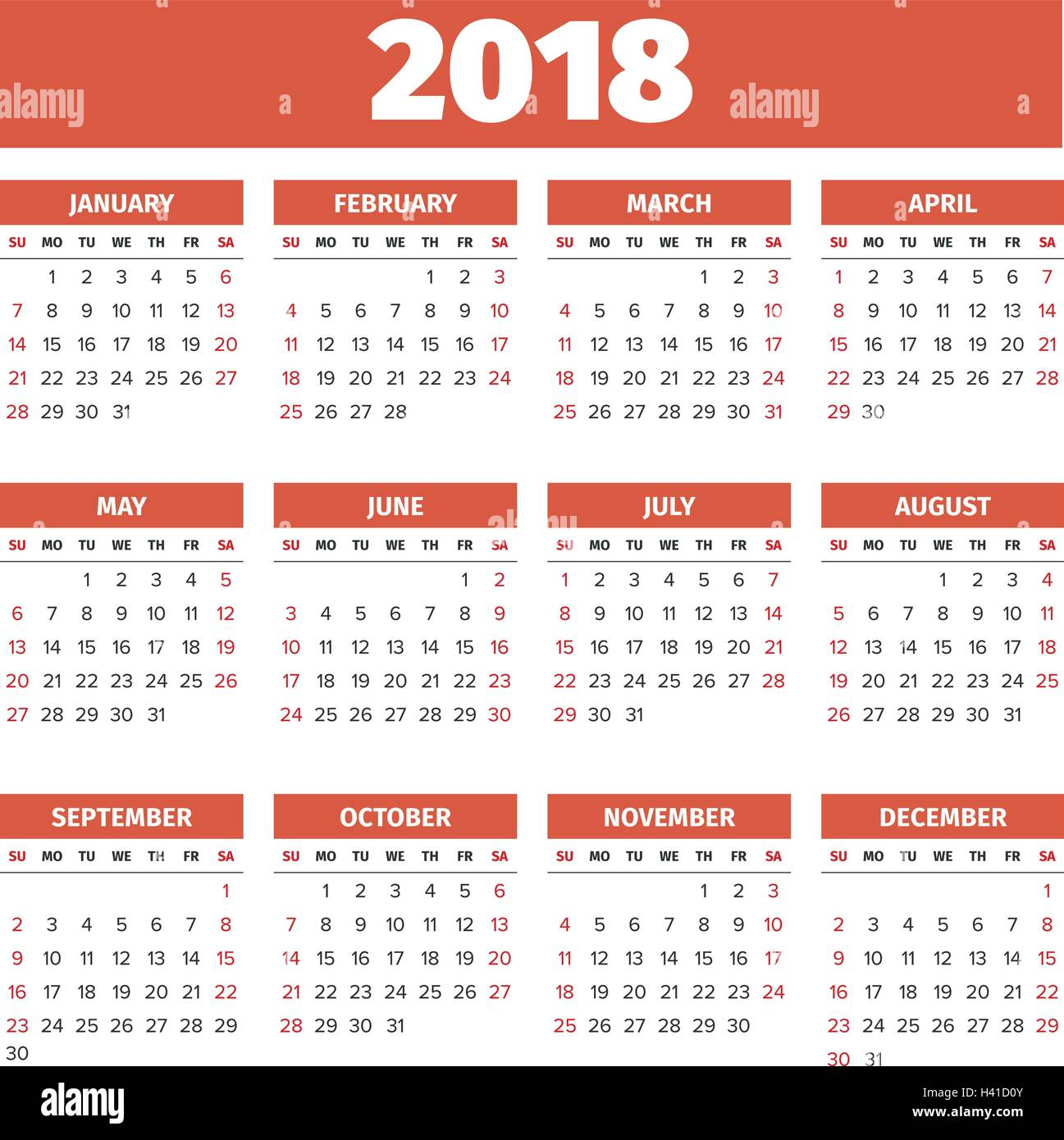 yearly calendar for 2018