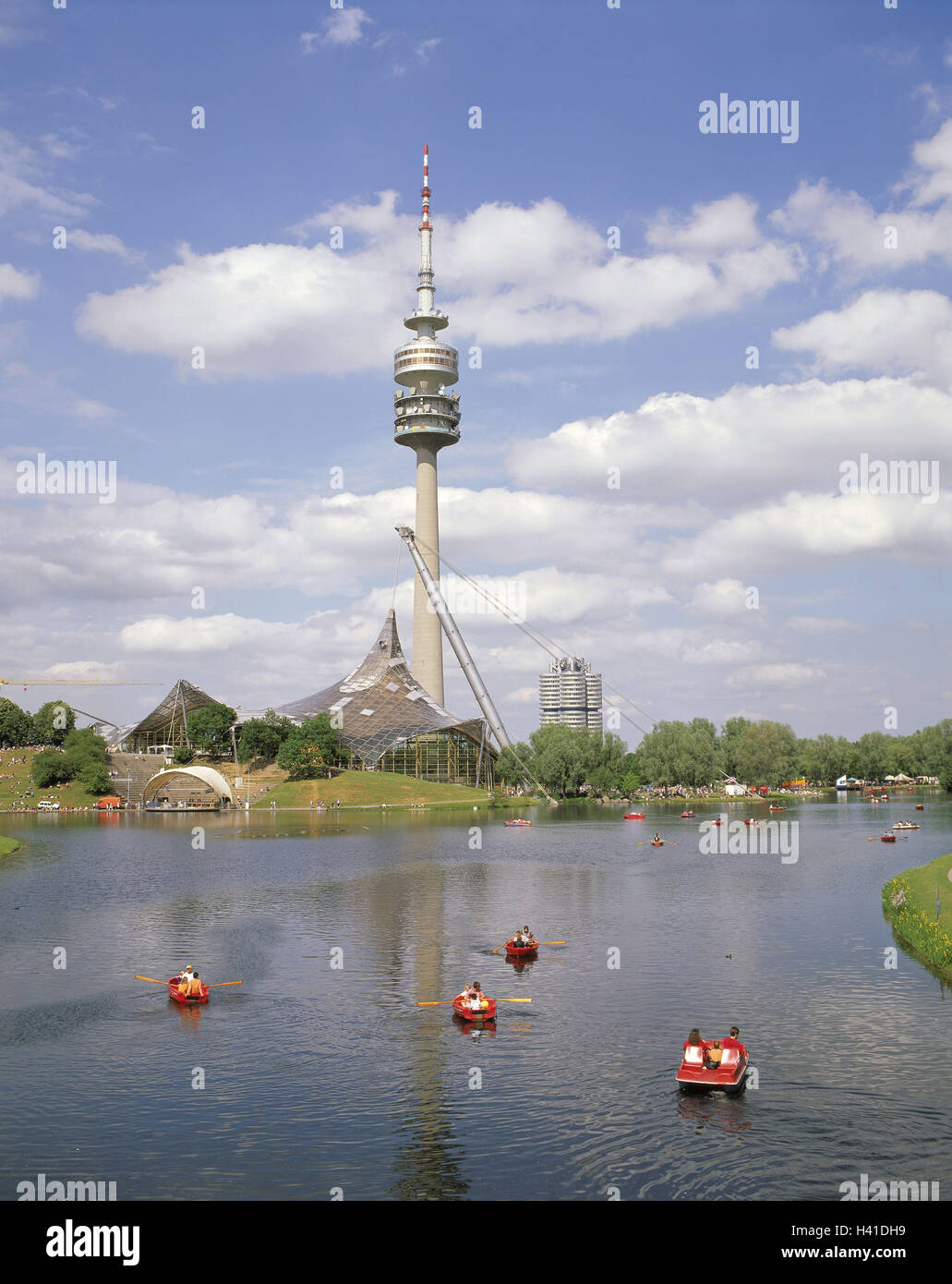 Germany Upper Bavaria Munich Olympic Park Swimming Hall Tower 290 M High Lake Oar Boots Summers Europe Town Recreational