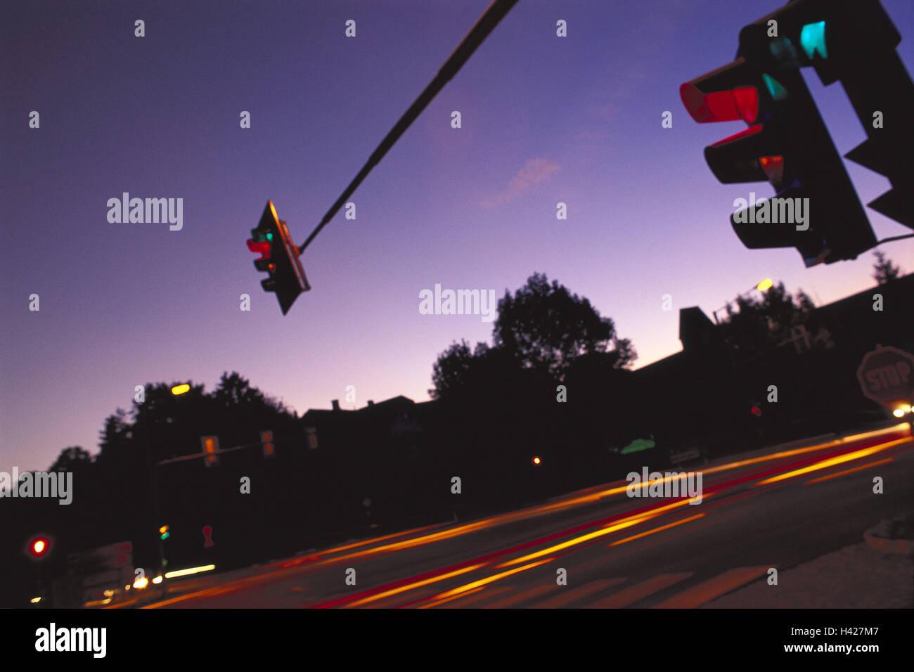 Street, traffic, lights, traffic light, At night street scene ... for Traffic Light On Road At Night  300lyp