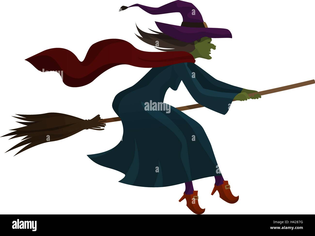 halloween old witch flying on broom vector illustration - Flying Halloween Witch