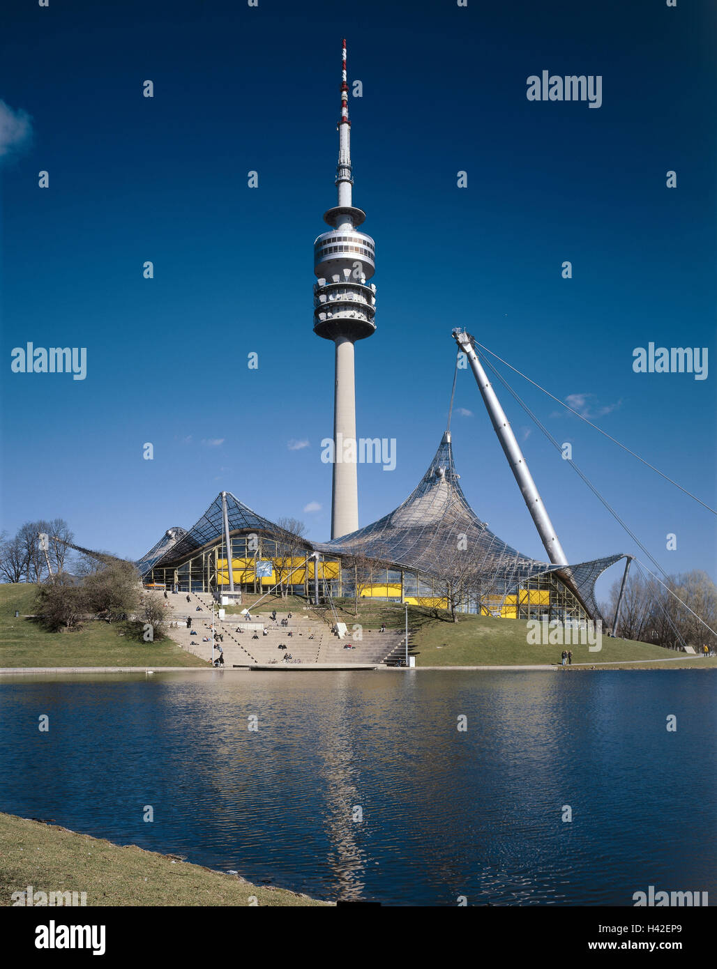 Germany Upper Bavaria Munich Olympic Park Swimming Hall Tower