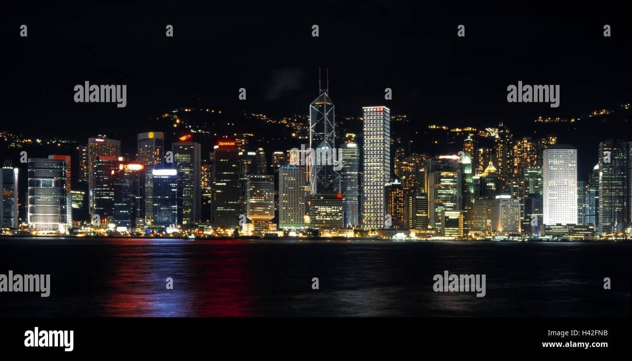 China, Hong Kong, Skyline, Night, Asia, Island Hong Kong, Hong Kong  Iceland, Part Town, Wan Chai, Wanchai, Xianggang, Hsiangkang, Victoria  Harbour, ...