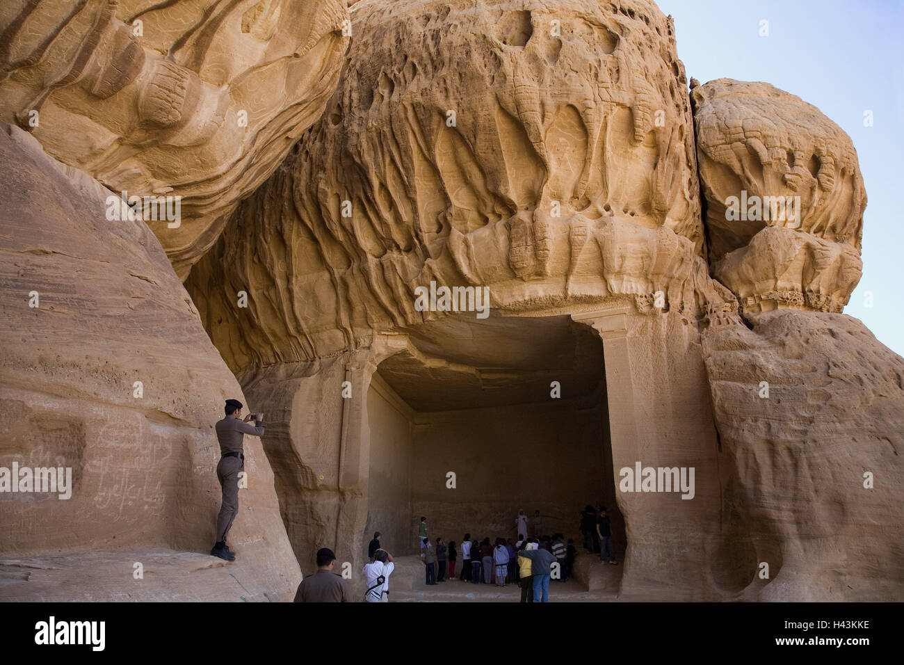 Saudi Arabia, province Tabuk, Madain Saleh, cliff face ...
