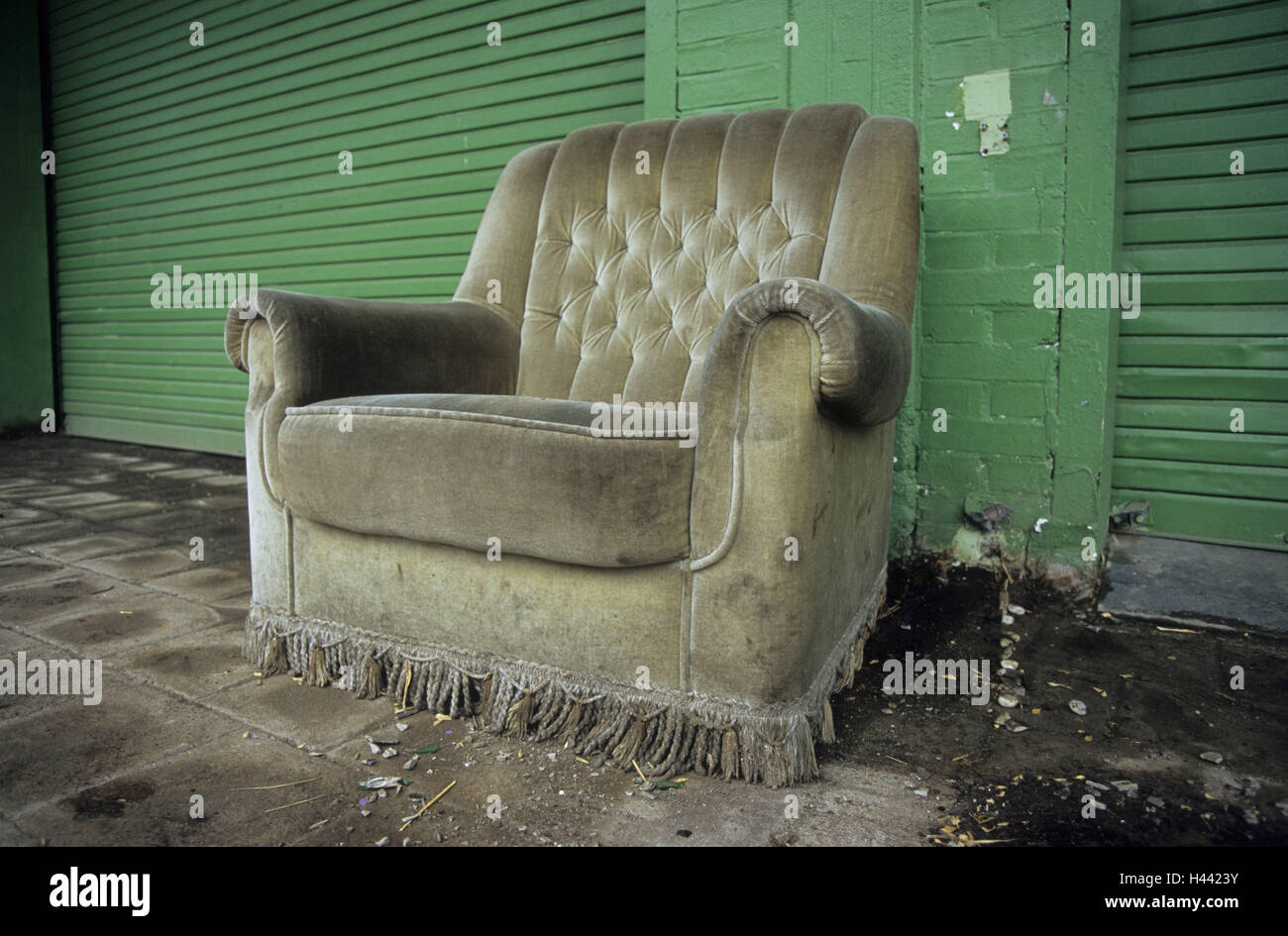 building facade green upholstered chair old chair seat opportunity