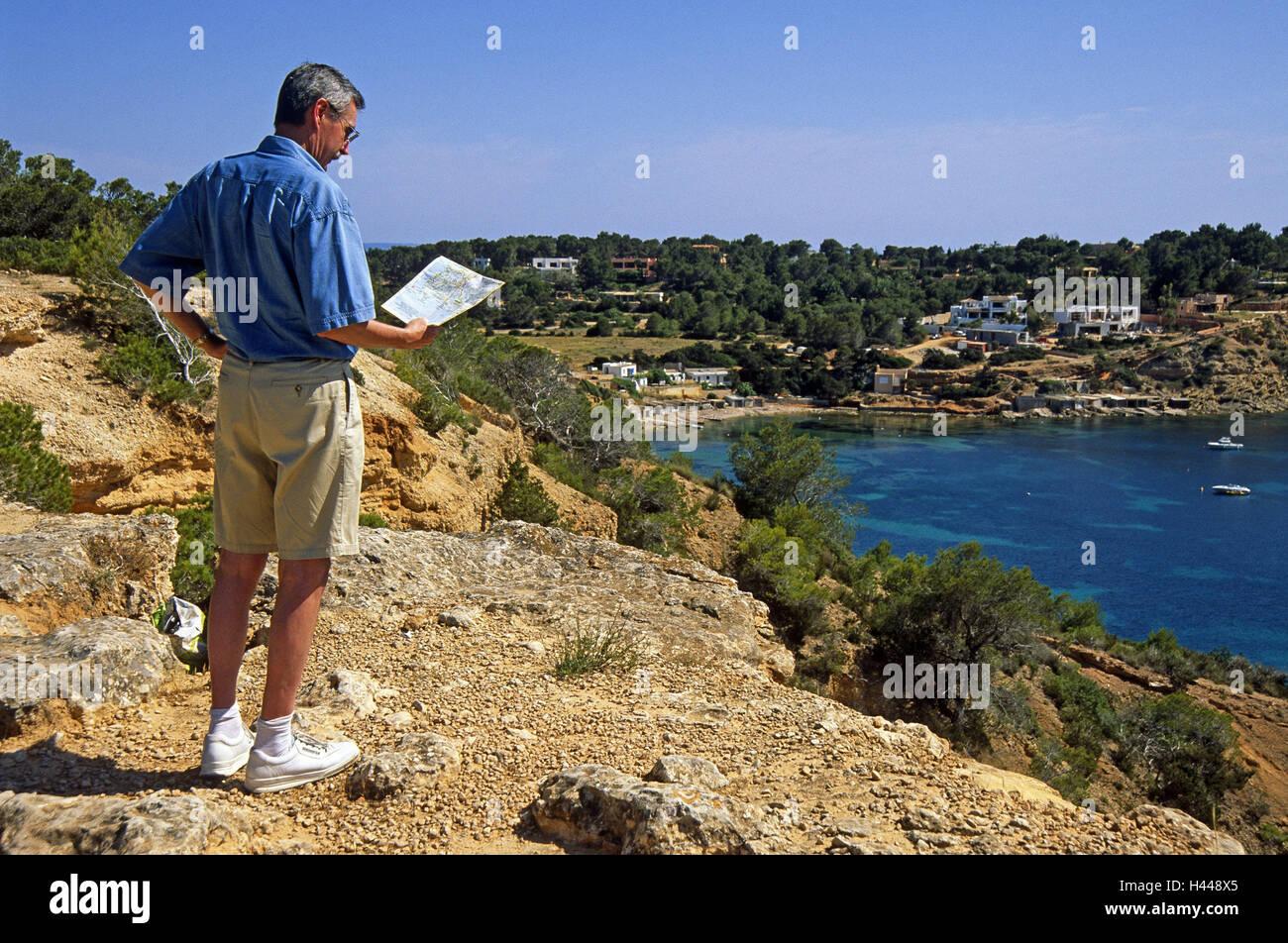 Ibiza Cala Porroig coast bay tourist map Spain the Balearic