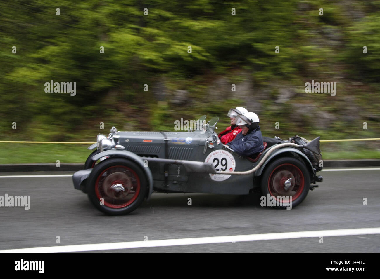 Boiler mountain race, old-timer car, MG J4, mountain passage Stock ...