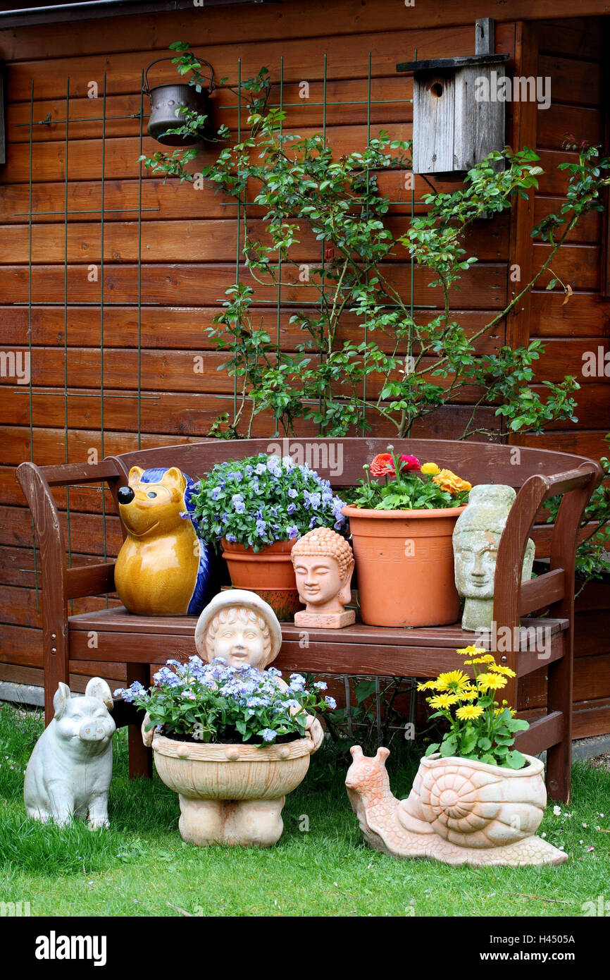 Garden Bench Garden Figures Flowers Summer House Garden