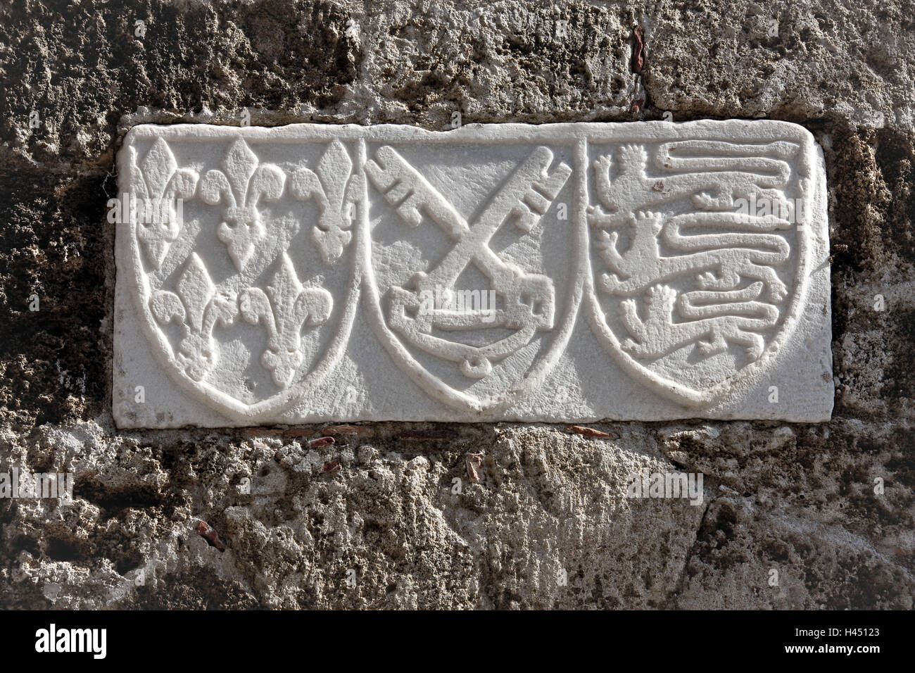 Europe, Southern, Europe, Greece, Island Rhodes, North Part, Rhodes Town,  Ritterstrasse, Coat Arms In Of A Outside Wall, Detail,