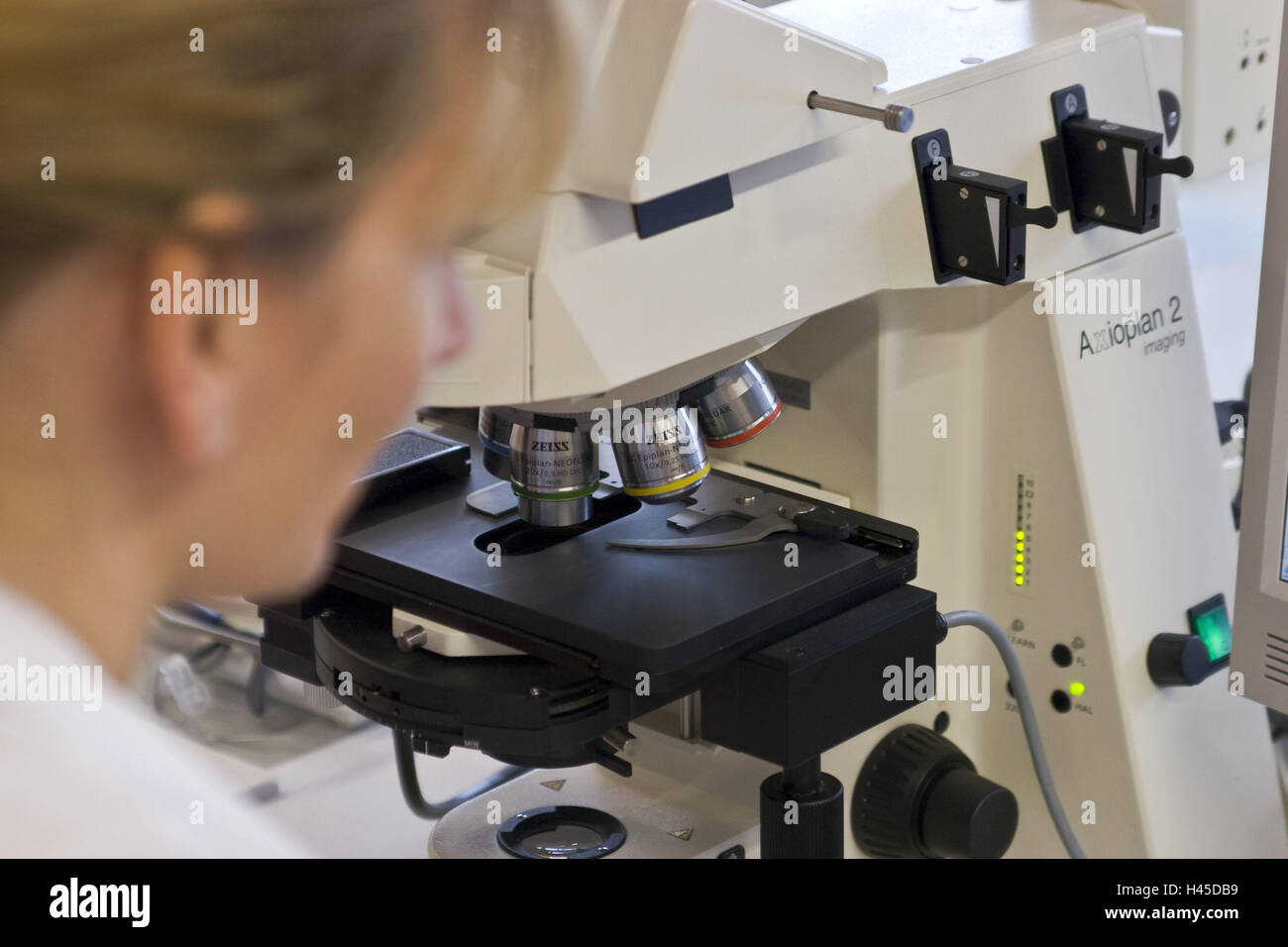 Chemicals companies, laboratory assistant, view, microscope ...