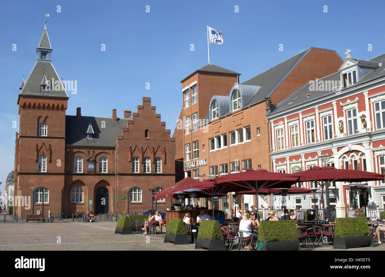Denmark, Jutland, Esbjerg, city hall square, cafe, guests, no model Stock Photo, Royalty Free ...