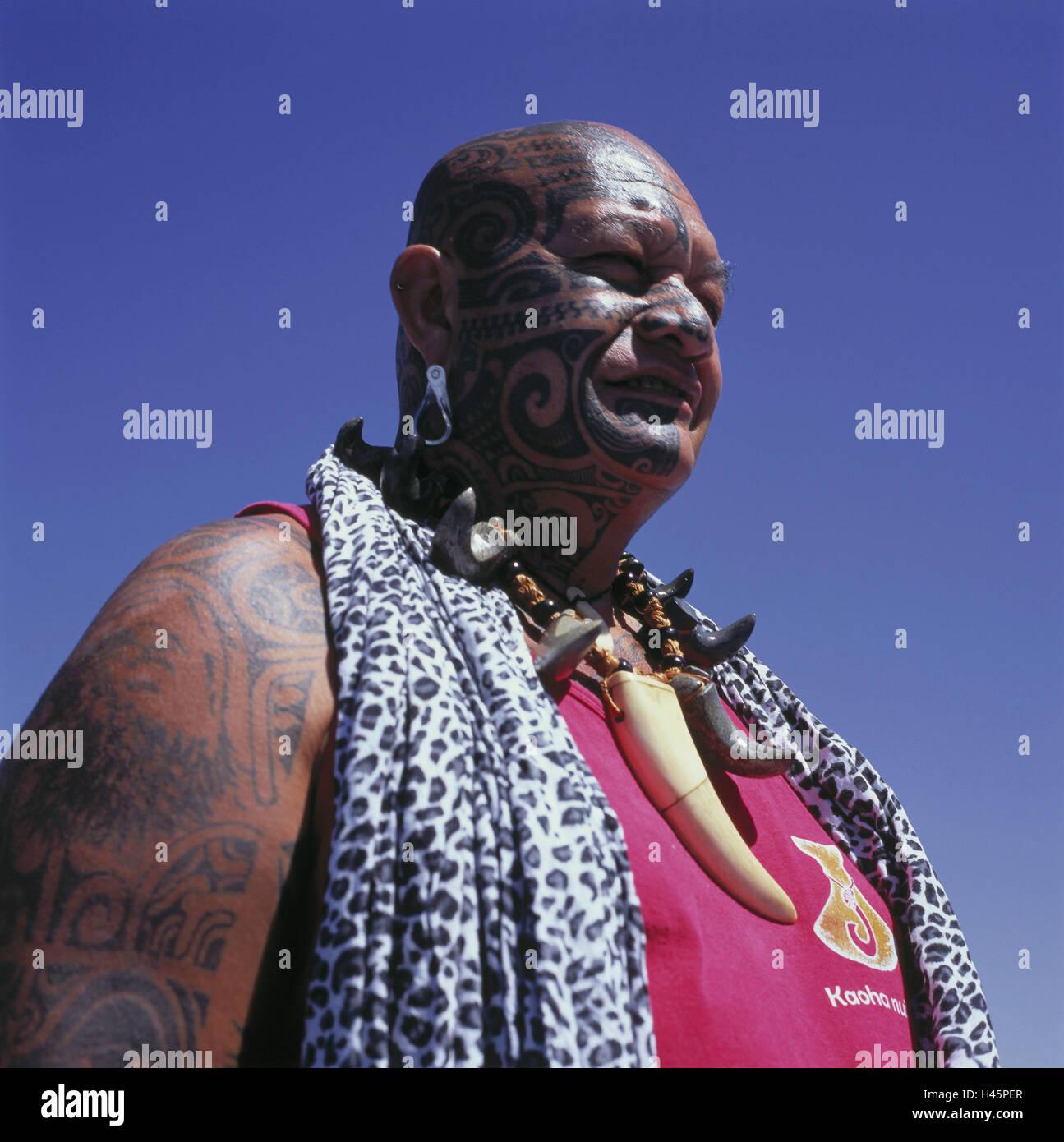 French Polynesia Country Part - 48: French Polynesia, Ua Pou, Man, Portrait, Person, Local, Dark-skinned,  Polynesian, Tattoos, Neck Jewellery, Tradition, Typically For Country,