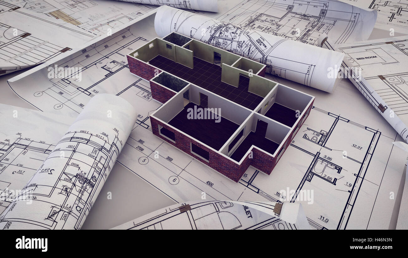 3d Rendering Of Architect Workplace Architectural Project Blueprints Blueprint Rolls On Plans