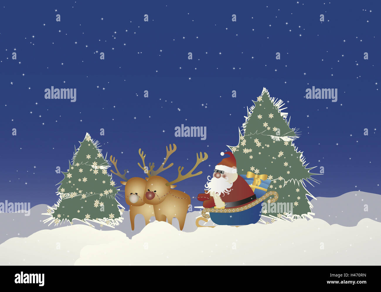 Christmas Tree Scenery Part - 37: Illustration, Santa Claus, Reindeer Sleigh, Christmas Presents, Night,  Graphics, Christmas, For Christmas, Wintry, Wood, Winter Scenery, Winter  Wood, Trees, ...