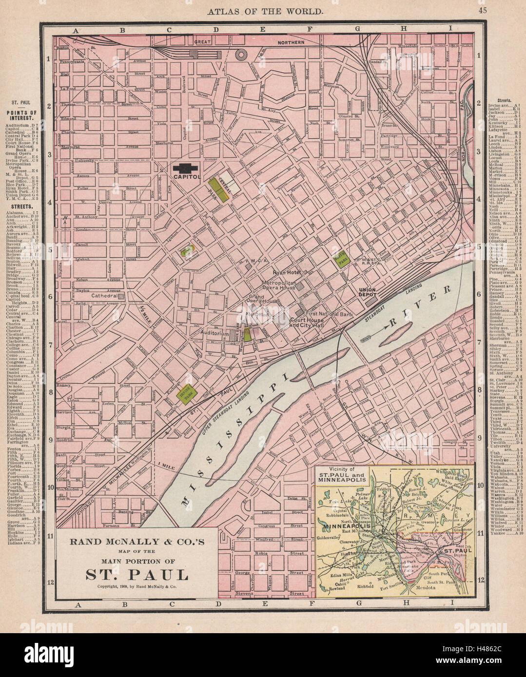 St Paul Town City Map Plan Minneapolis Minnesota RAND MCNALLY - Minnesota city map