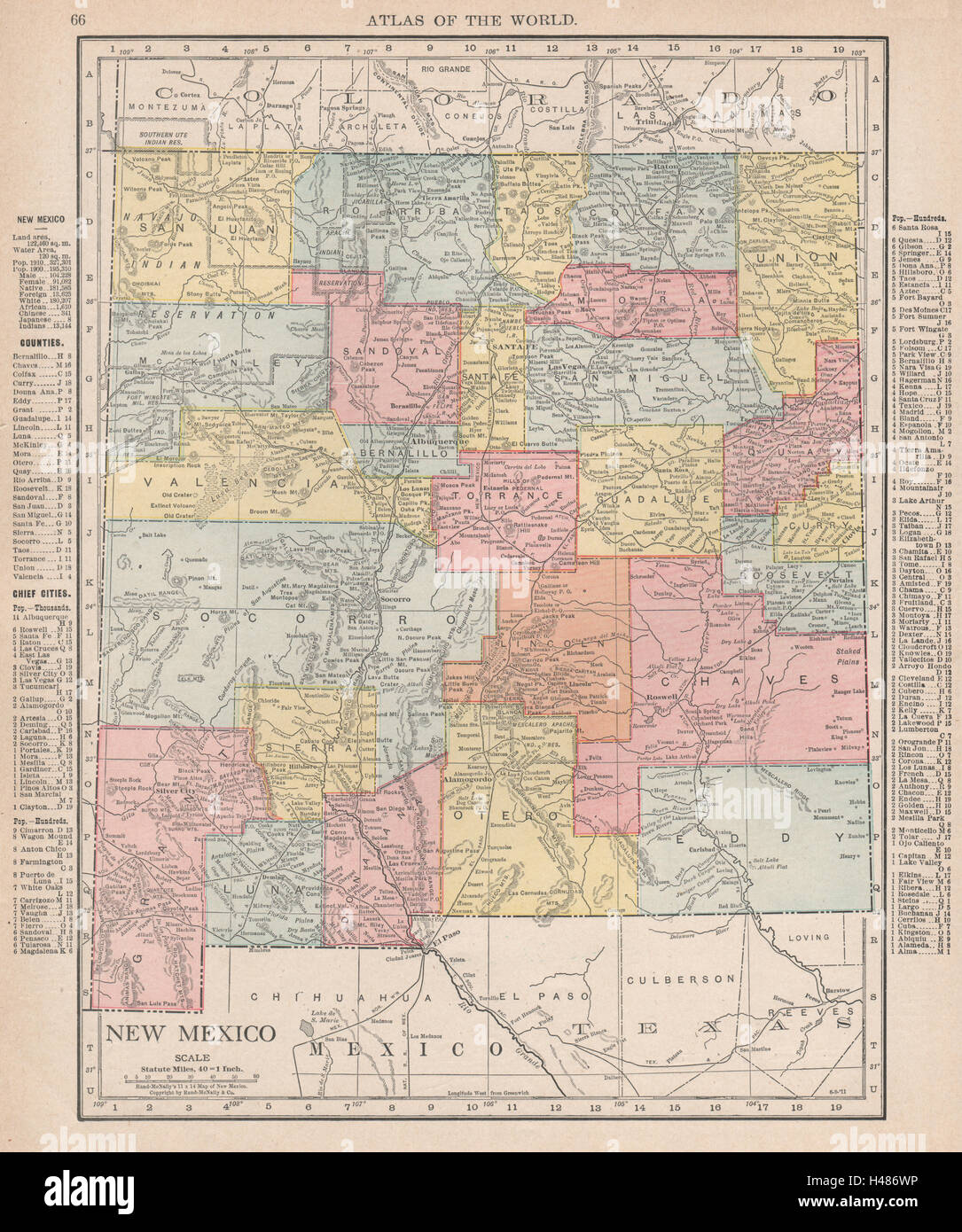 New Mexico state map showing counties RAND MCNALLY 1912 old
