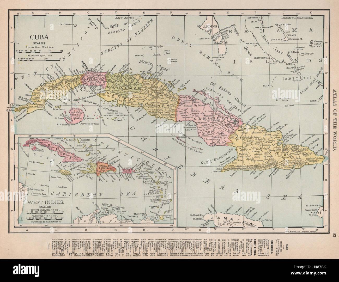 Cuba Showing Provinces RAND MCNALLY Old Antique Vintage Map - Cuba provinces map