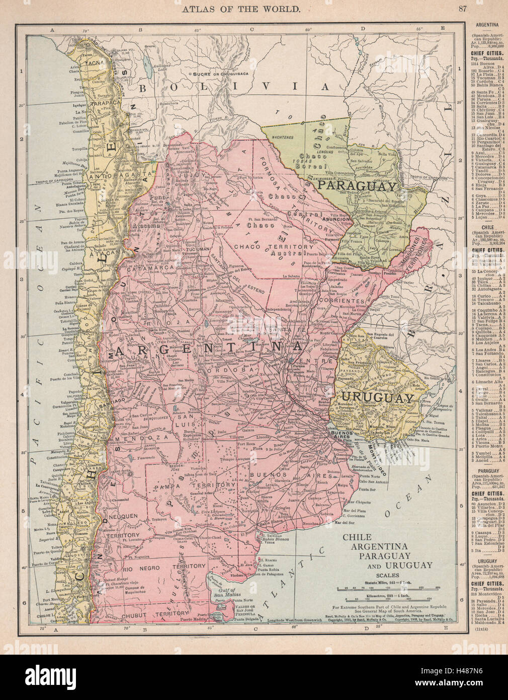 Chile Argentina Paraguay And Uruguay South America RAND - Uruguay map atlas