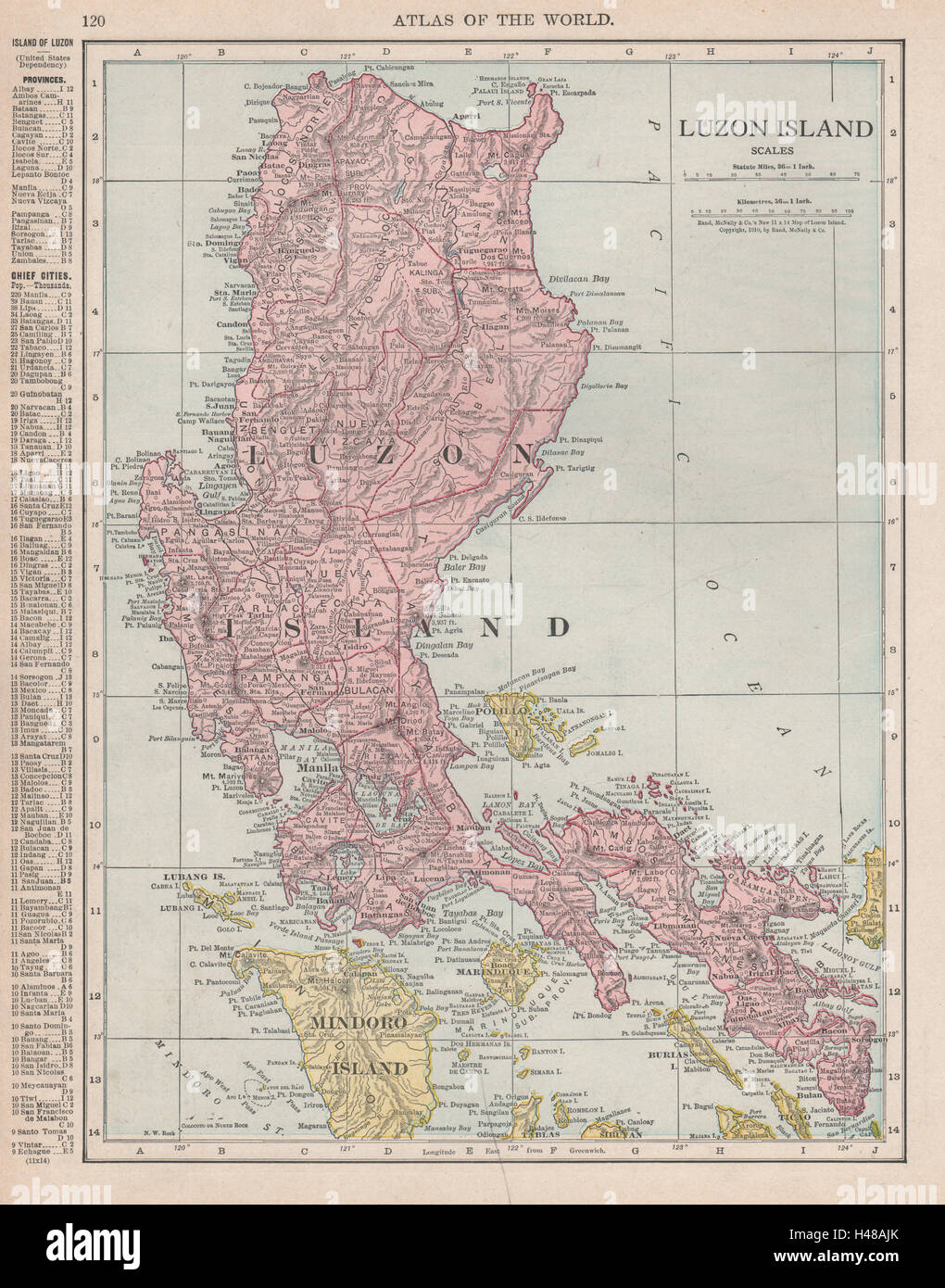 LUZON ISLAND Philippines RAND MCNALLY 1912 old antique map plan