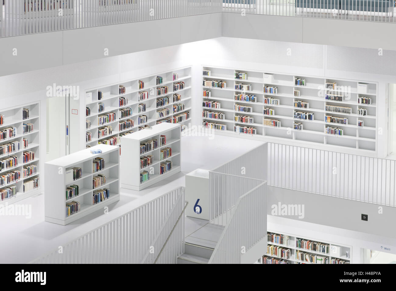 Germany Stuttgart New City Library Indoors Central White Stairs Double Facade Light Concept Interior View Atrium Stairwell