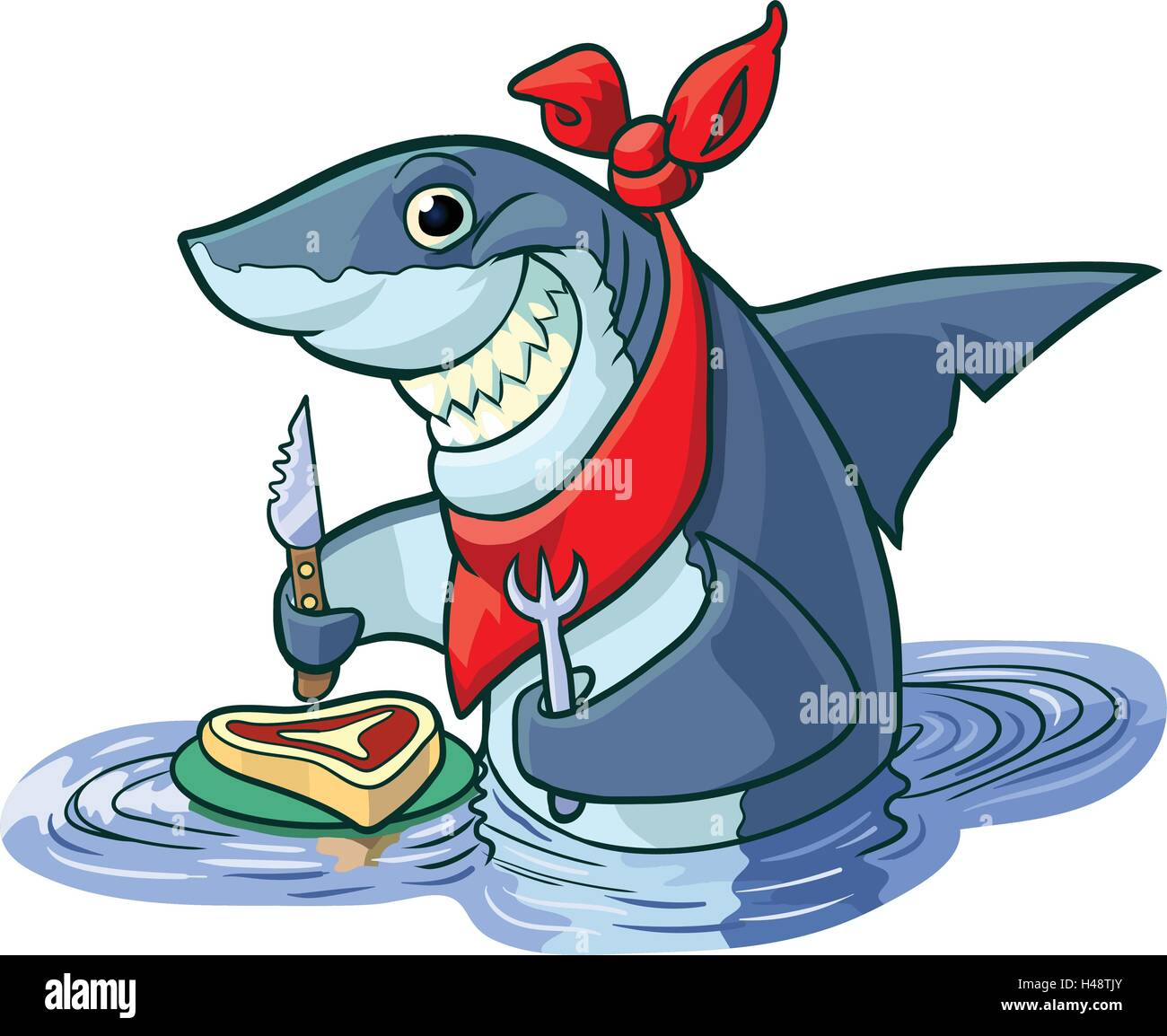 vector cartoon clip art illustration of a cute happy smiling shark