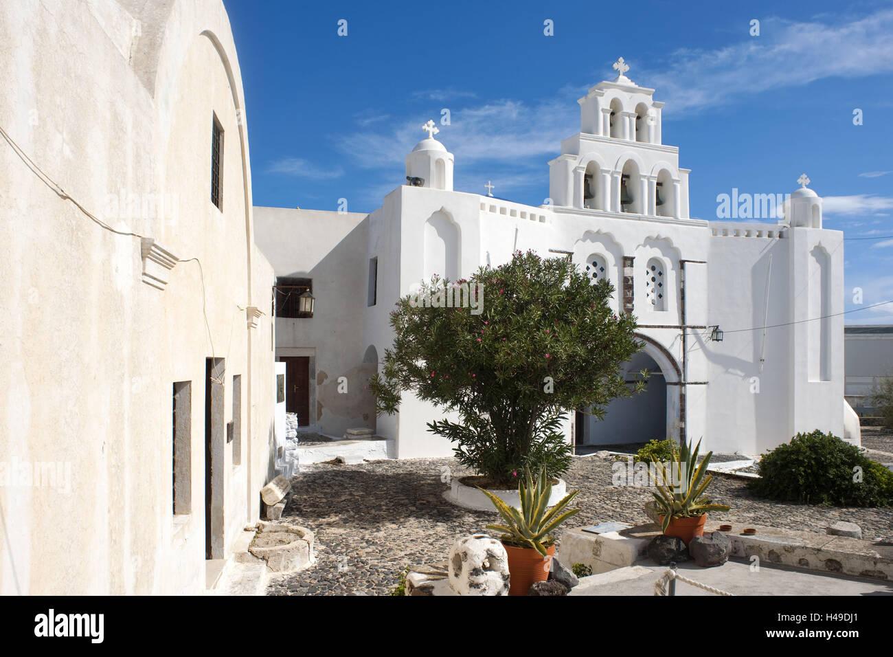 Greece, the Cyclades, Santorini, Pyrgos, church the ...