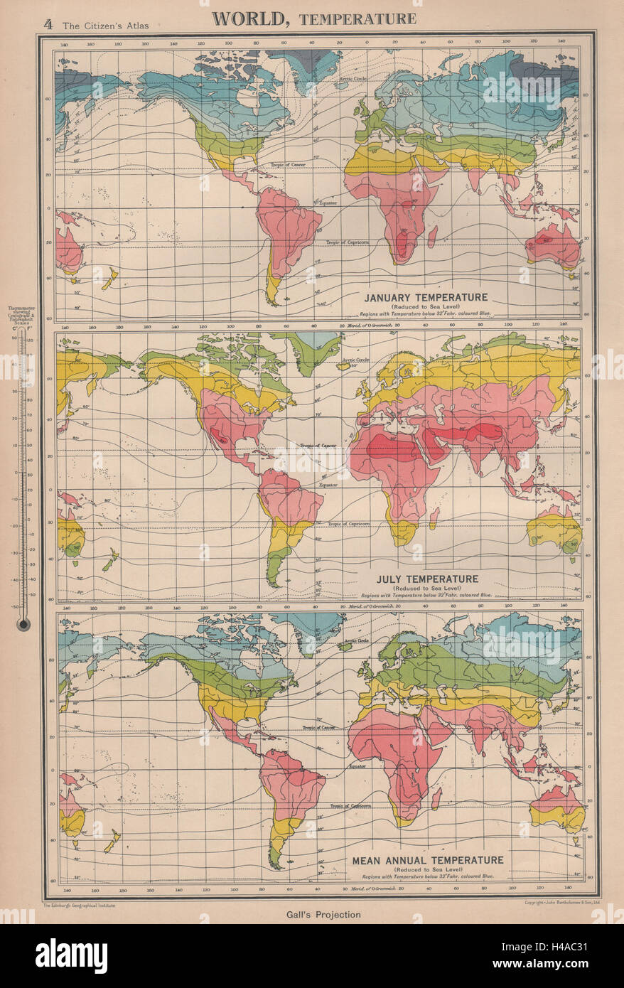 World temperature january july mean annual bartholomew 1944 old world temperature january july mean annual bartholomew 1944 old vintage map sciox Choice Image