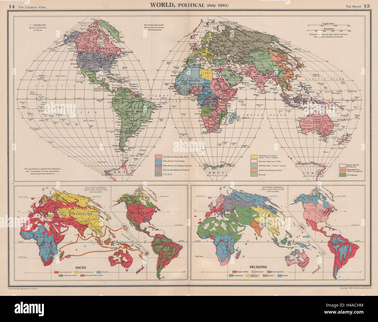 WORLD In Third Reich Japanese Occupied China Vichy France - Third reich map 1944