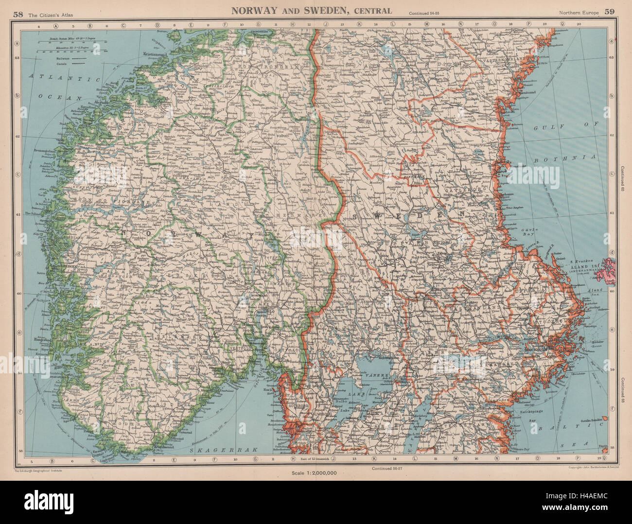 SCANDINAVIA Norway And Sweden Central Railways BARTHOLOMEW - Norway map free