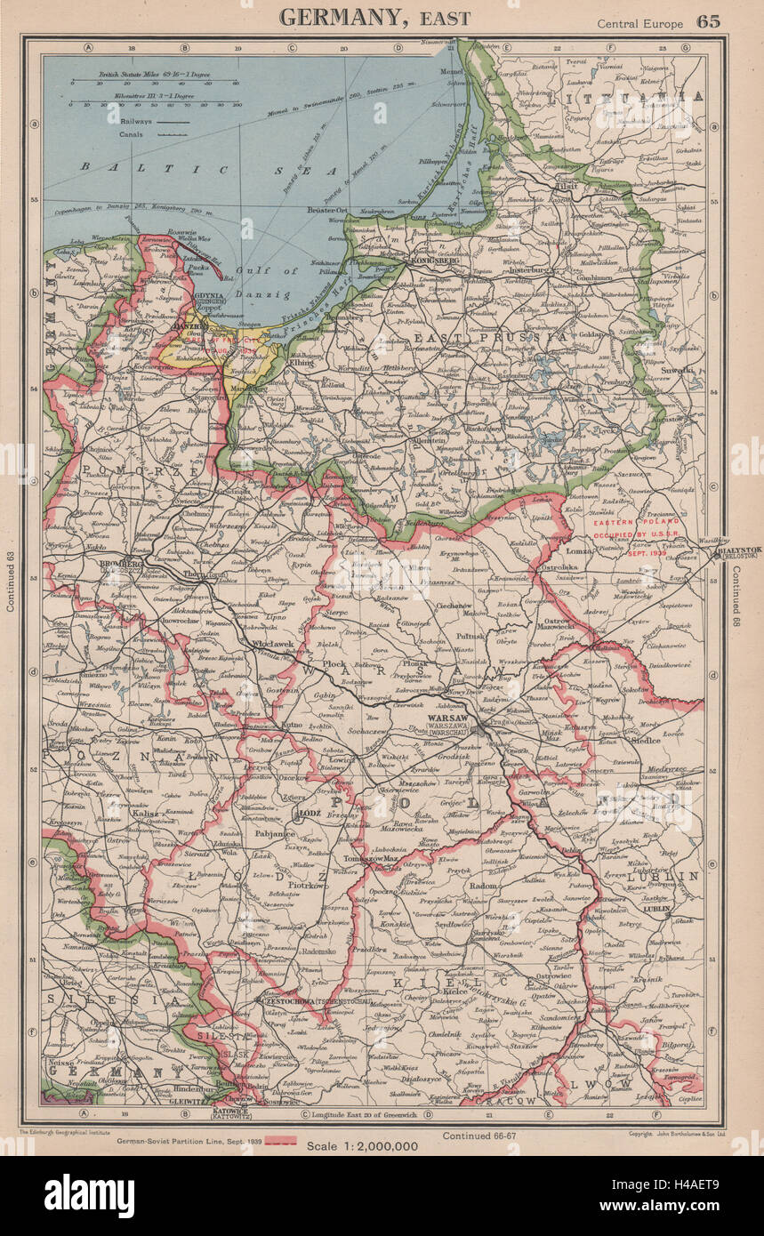WW POLAND Showing GermanyUSSR Partition Line Danzig Free - Germany map in 1939