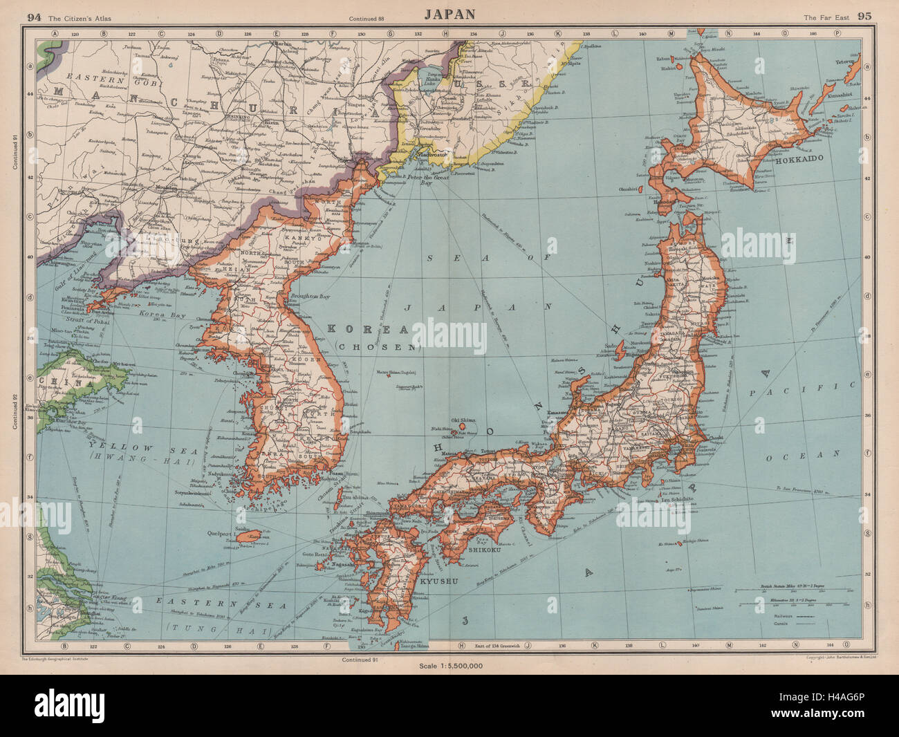 JAPAN KOREA Shows Japanese Occupied Manchuria BARTHOLOMEW - Japan map korea