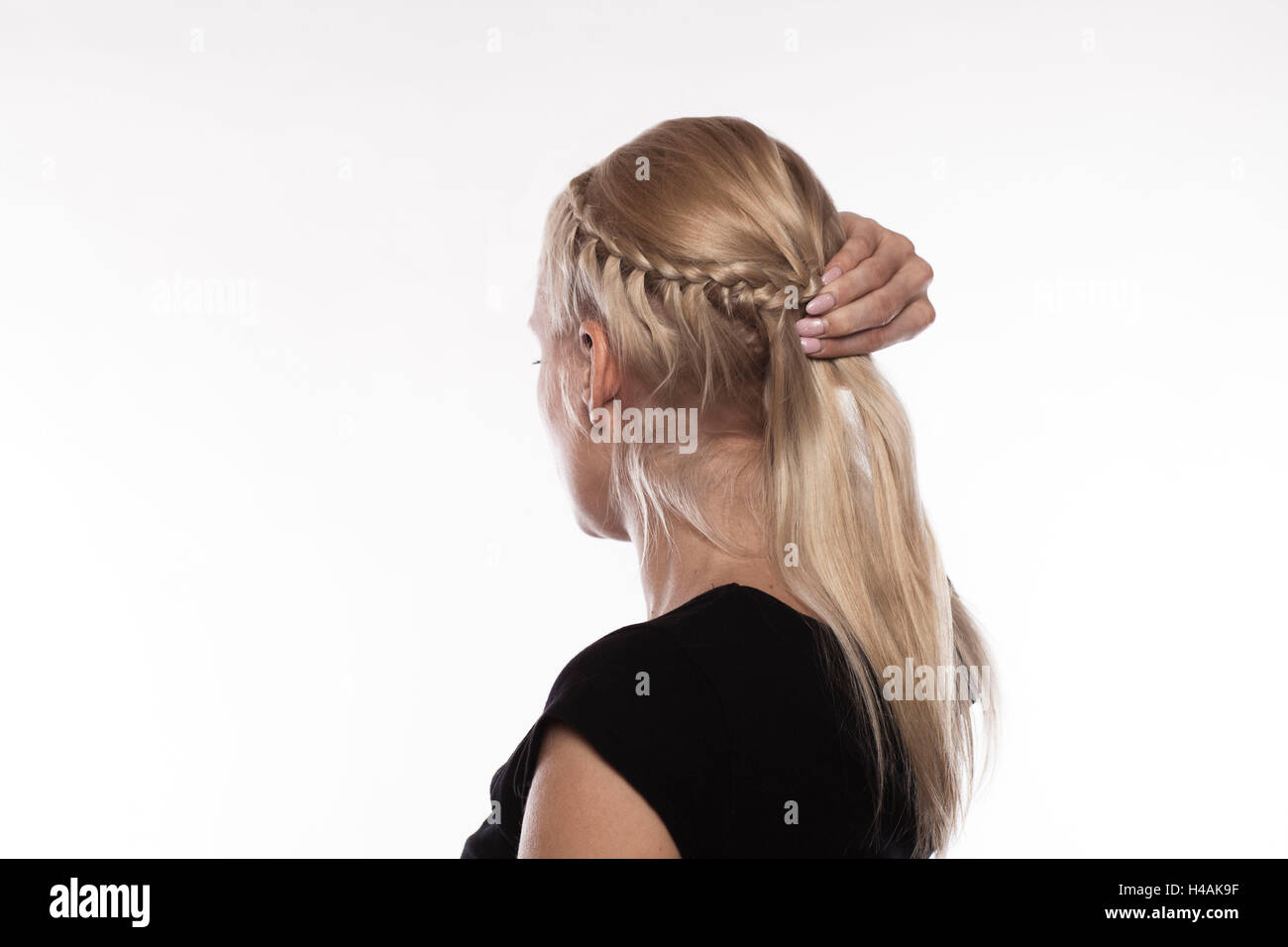 Excellent Instructions French Plait Step 3 Of 4 Stock Photo Royalty Free Hairstyles For Men Maxibearus