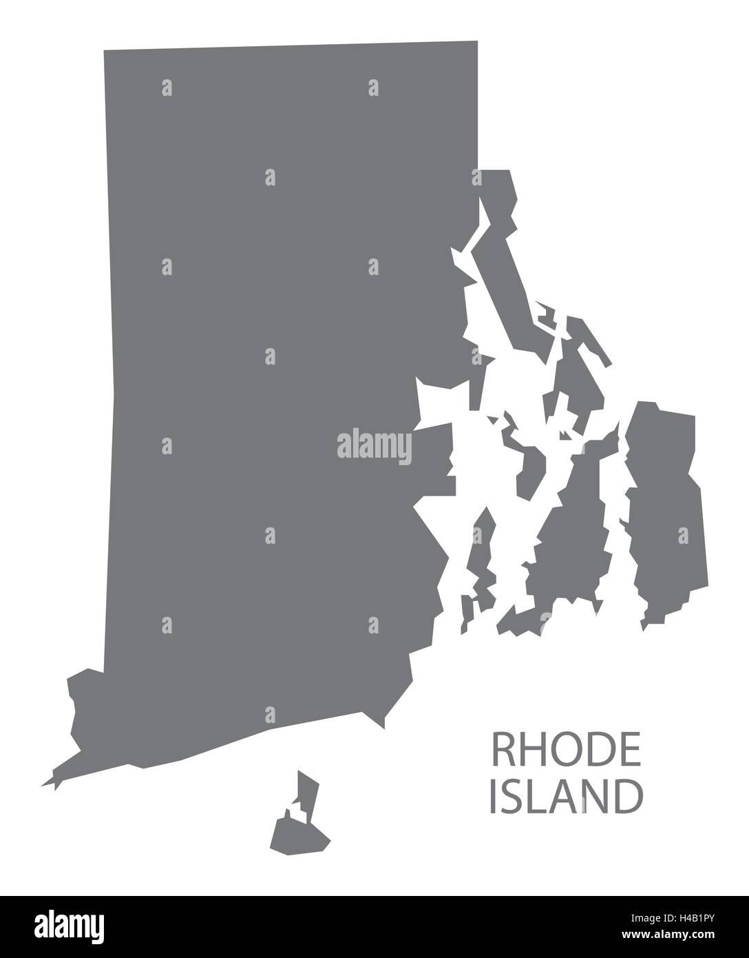 Rhode Island USA Map In Grey Stock Vector Art  Illustration - Rhode island in usa map